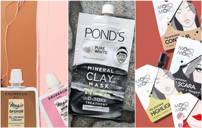 Beauty products in sachet packaging